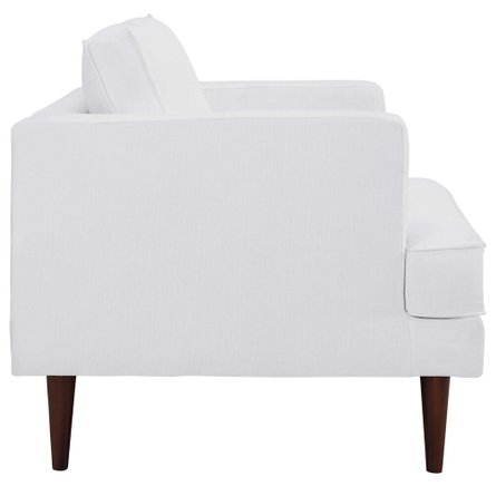 Agile Upholstered Fabric Armchair White