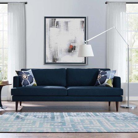 Agile Upholstered Fabric Sofa Blue