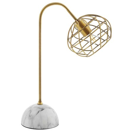 Salient Marble Table Lamp Brass And White