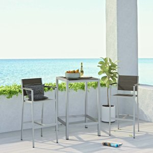 "Shore 20"" Outdoor Pub Set for 2 Silver & Gray"
