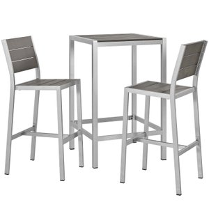 "Shore 18"" Outdoor Pub Set for 2 Silver & Gray"