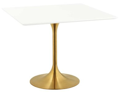 """Lippa 36"""" Square Dining Table Gold & White"""