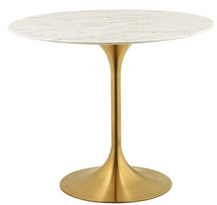 """Lippa 40"""" Round Marble Dining Table Gold & White"""