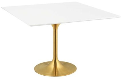 """Lippa 47"""" Square Dining Table Gold & White"""