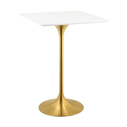 "Lippa 28"" Square Wood Top Bar Table Gold And White"
