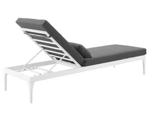 Perspective Cushion Outdoor Chaise Lounge Chair White & Charcoal