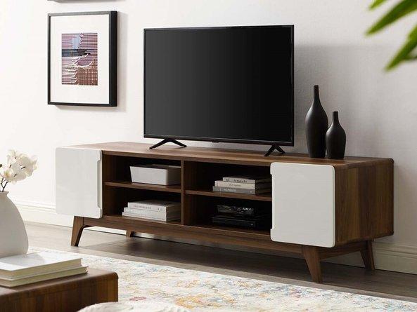 "Tread 70"" Media Console TV Stand Walnut And White"
