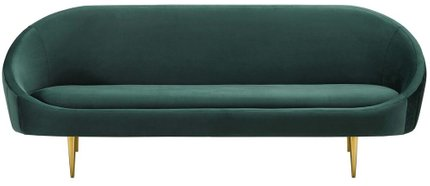 Sublime Vertical Curve Back Performance Velvet Sofa Green