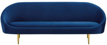Sublime Vertical Curve Back Performance Velvet Sofa Navy
