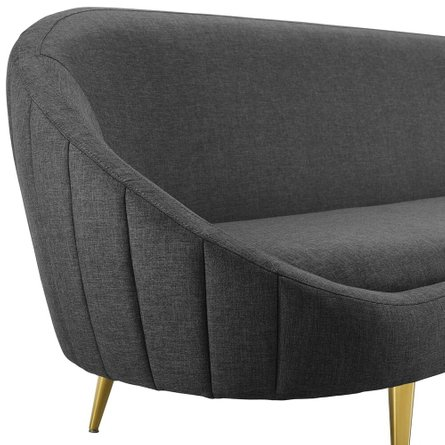 Sublime Vertical Curve Back Fabric Sofa Gray