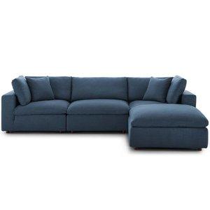 Commix Down Filled Overstuffed Sectional Sofa Set Azure