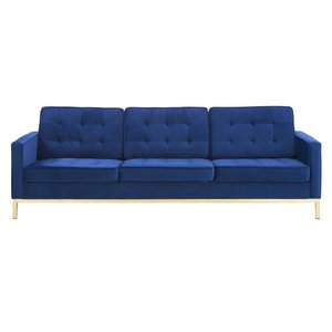Loft Gold Stainless Steel Leg Performance Velvet Sofa Gold And Navy