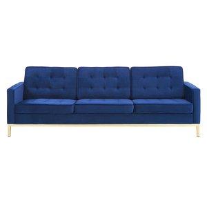 Loft Gold Stainless Steel Leg Performance Velvet Sofa Gold And Navy