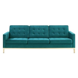 Loft Gold Stainless Steel Leg Performance Velvet Sofa Gold And Teal