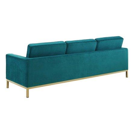 Loft Gold Stainless Steel Leg Performance Velvet Sofa Gold And Teal