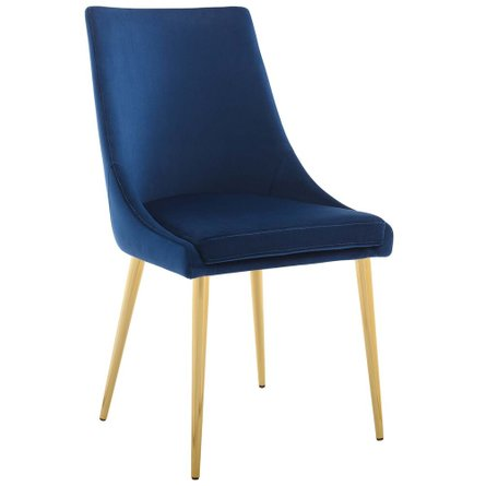 Viscount Accent Performance Velvet Dining Chair Navy