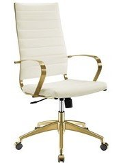 Jive Gold Stainless Steel Highback Office Chair Gold and White