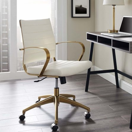 Jive Gold Stainless Steel Midback Office Chair Gold and White