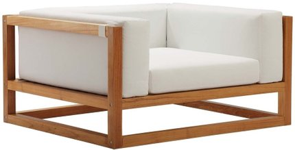 Newbury Accent Lounge Outdoor Armchair Natural & White