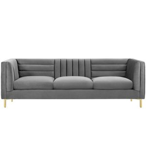 Ingenuity Channel Tufted Performance Velvet Sofa Gray