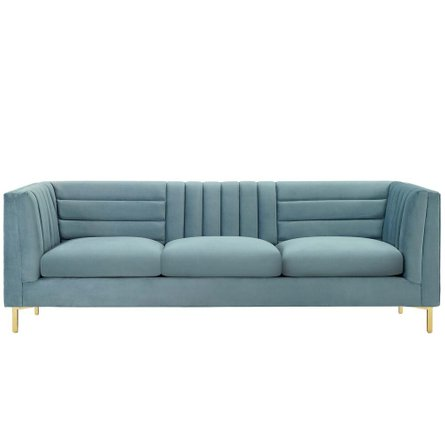 Ingenuity Channel Tufted Performance Velvet Sofa Light Blue