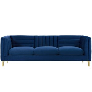 Ingenuity Channel Tufted Performance Velvet Sofa Navy