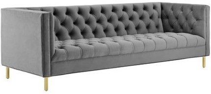 Delight Tufted Button Performance Velvet Sofa Gray