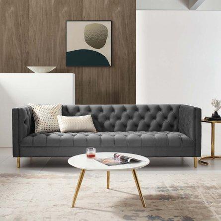 Delight Tufted Button Performance Velvet Sofa Gray