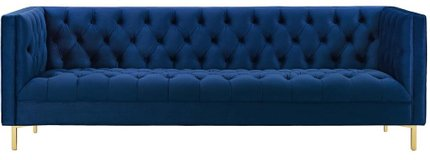Delight Tufted Button Performance Velvet Sofa Navy