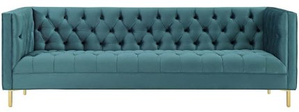 Delight Tufted Button Performance Velvet Sofa Sea