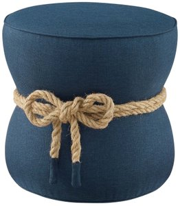 Beat Nautical Rope Ottoman Blue
