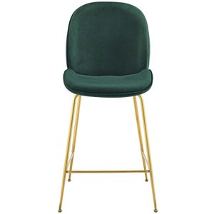 Scoop Gold Stainless Steel Leg Performance Velvet Counter Stool Green