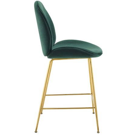 Scoop Performance Velvet Counter Stool Green And Gold