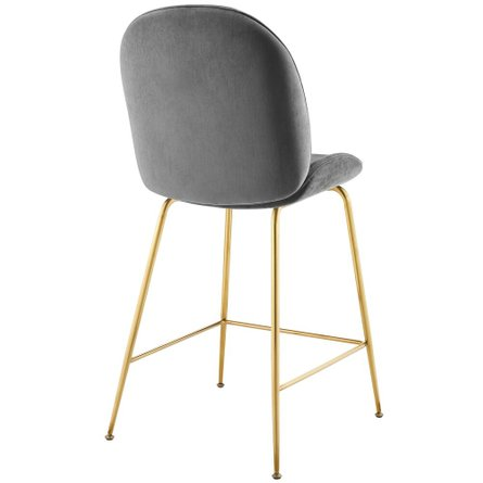 Scoop Gold Stainless Steel Leg Performance Velvet Counter Stool Gray
