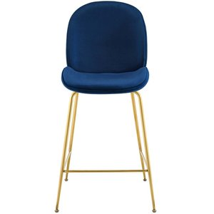 Scoop Gold Stainless Steel Leg Performance Velvet Counter Stool Navy