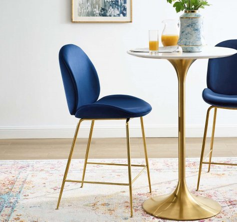 Scoop Performance Velvet Counter Stool Navy And Gold