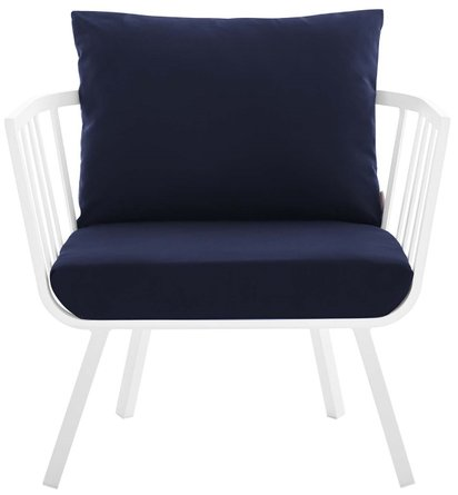 Riverside Outdoor Armchair White & Navy