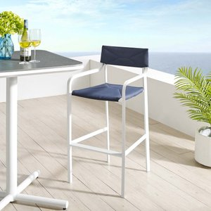 Raleigh Stackable Outdoor Bar Stool White & Navy