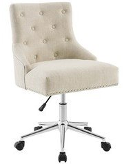 Regent Tufted Button Swivel Upholstered Fabric Office Chair Beige