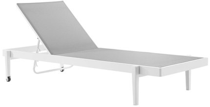 Charleston Outdoor Patio Chaise Lounge Chair in White & Gray