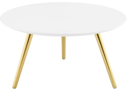 "Lippa 28"" Round Coffee Table White And Gold"