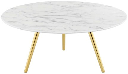 """Lippa 36"""" Round Artificial Coffee Table White And Gold"""