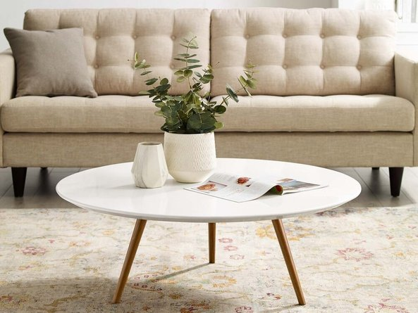 Lippa Coffee Table With Tripod Base Walnut And White