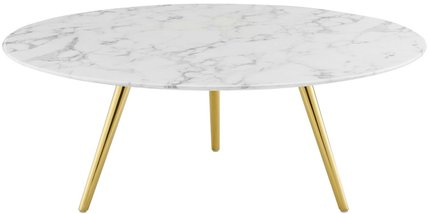 "Lippa 40"" Round Artificial Coffee Table White And Gold"