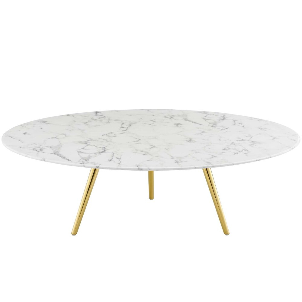 Rent Lippa Round Coffee Table With Tripod Base Gold And White Coffee Tables New York Casaone