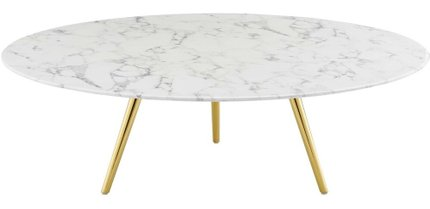 Lippa Round Coffee Table with Tripod Base Gold And White