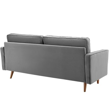 Valour Performance Velvet Sofa Gray