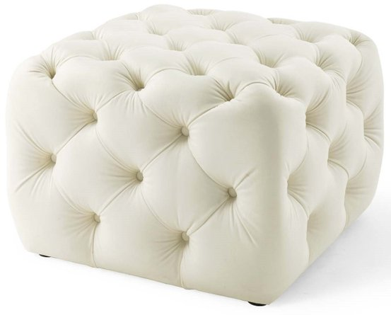 Amour Tufted Button Square Performance Ottoman Ivory