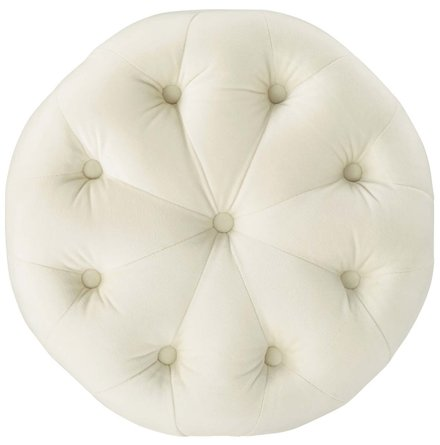 Amour Round Ottoman Ivory