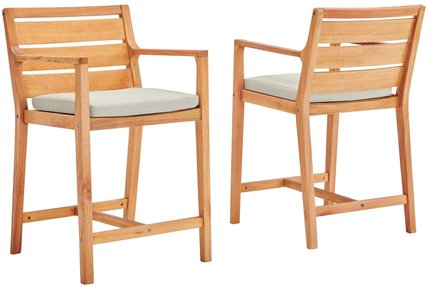 Portsmouth Outdoor Bar Stool Natural & Taupe (Set of 2)